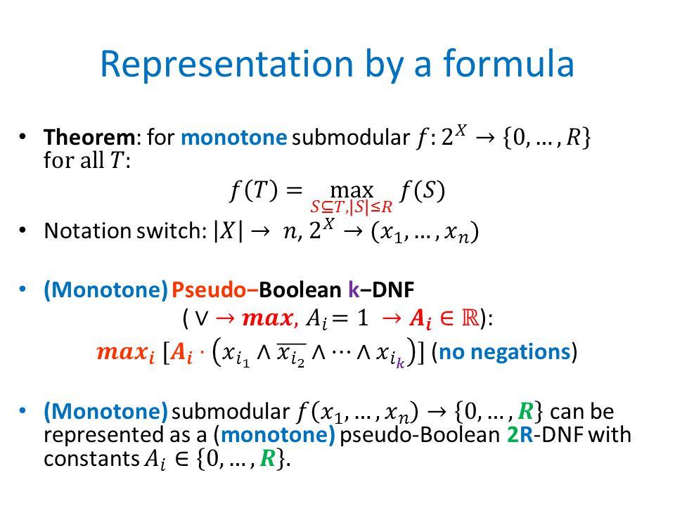 Representation by a formula