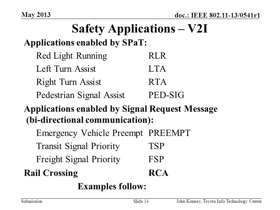 Submission doc.: IEEE 802.11-13/0541r1 V2V Safety Use Case If intersecting trajectories are indicated, driver is warned. Slide 13John Kenney, Toyota I