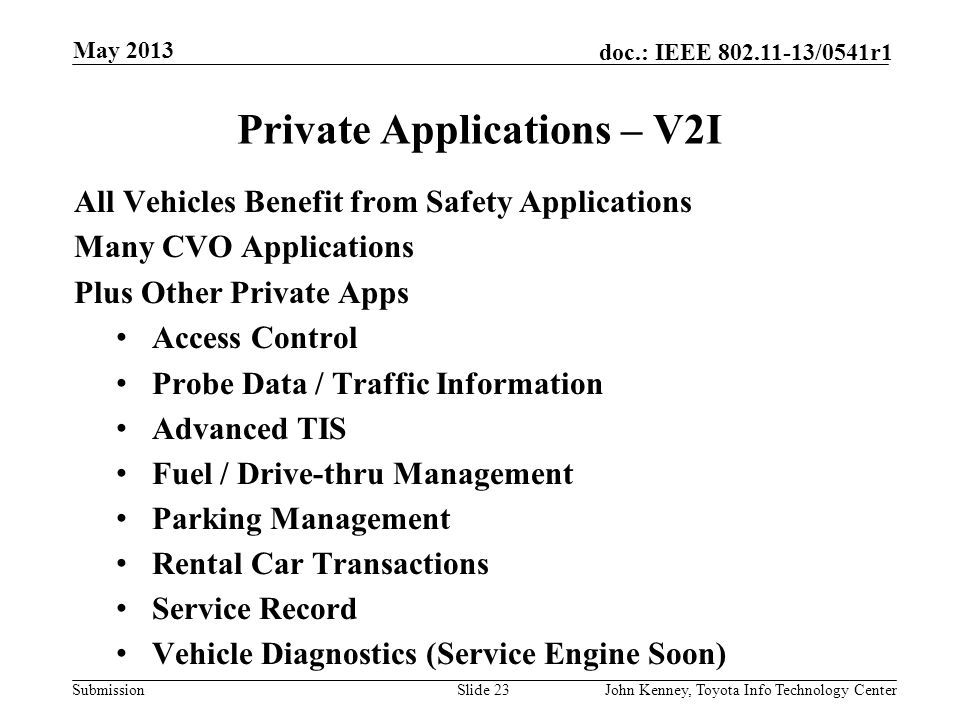 Submission doc.: IEEE 802.11-13/0541r1 CVO Applications – V2V and V2I May 2013 John Kenney, Toyota Info Technology CenterSlide 22 Unique to CVO Driver
