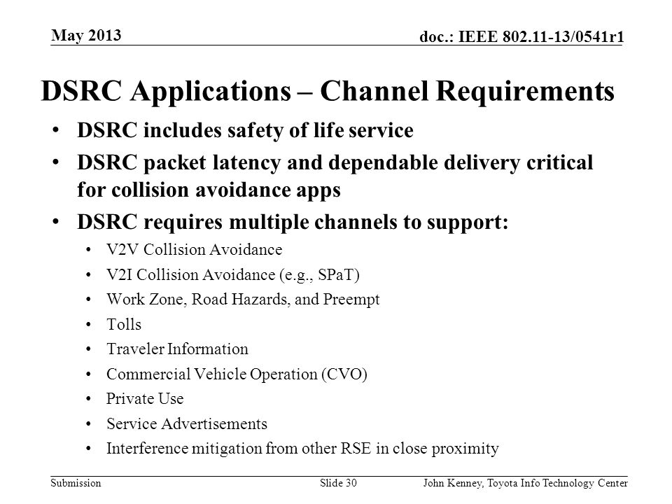 Submission doc.: IEEE 802.11-13/0541r1 DSRC and U-NII-4 Devices in 5.9 GHz Band May 2013 John Kenney, Toyota Info Technology CenterSlide 29 DSRC U-NII