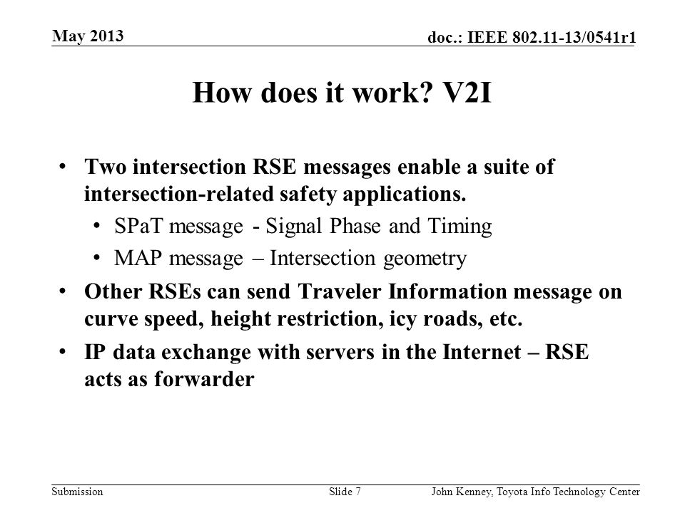 """Submission doc.: IEEE 802.11-13/0541r1 How does it work? V2V Each vehicle broadcasts its core state information in a """"Basic Safety Message"""" (BSM) nomi"""