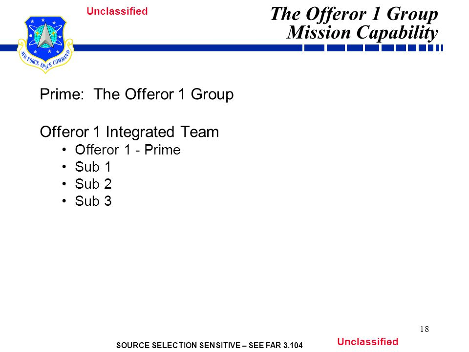 SOURCE SELECTION SENSITIVE – SEE FAR 3.104 Unclassified 18 Prime: The Offeror 1 Group Offeror 1 Integrated Team Offeror 1 - Prime Sub 1 Sub 2 Sub 3 The Offeror 1 Group Mission Capability