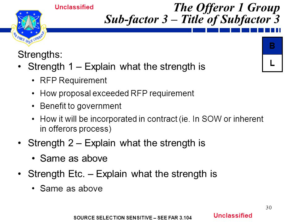 SOURCE SELECTION SENSITIVE – SEE FAR 3.104 Unclassified 30 The Offeror 1 Group Sub-factor 3 – Title of Subfactor 3 Strengths: Strength 1 – Explain what the strength is RFP Requirement How proposal exceeded RFP requirement Benefit to government How it will be incorporated in contract (ie.