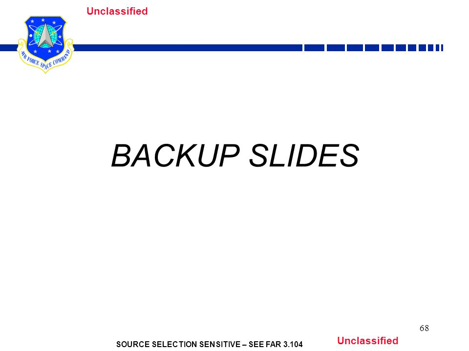 SOURCE SELECTION SENSITIVE – SEE FAR 3.104 Unclassified 68 BACKUP SLIDES