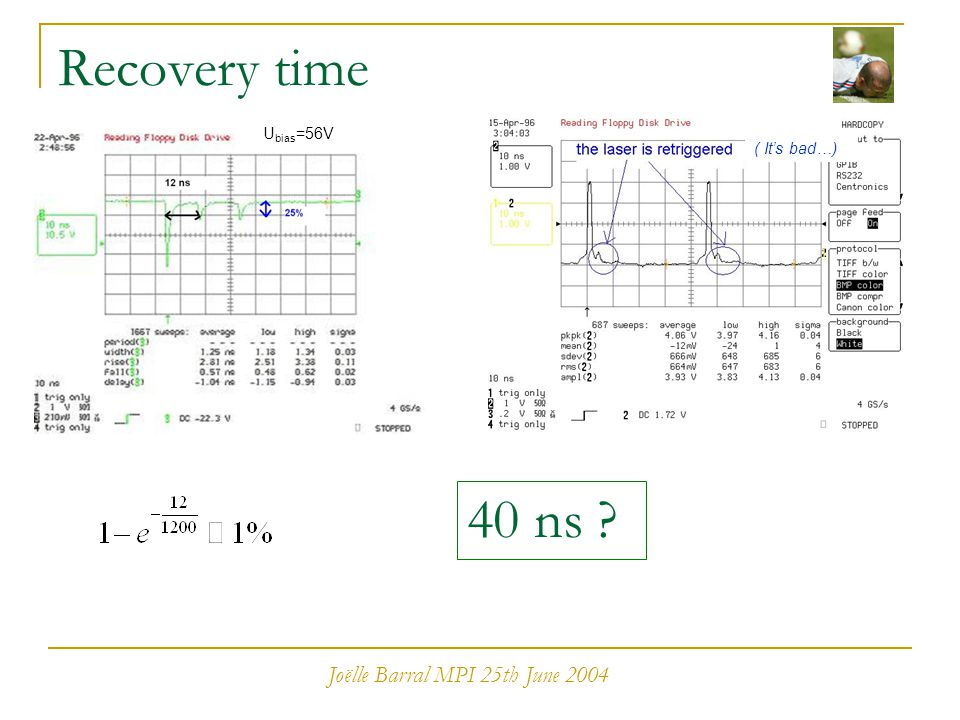 Joëlle Barral MPI 25th June 2004 Recovery time 40 ns ? ( It's bad…) U bias =56V