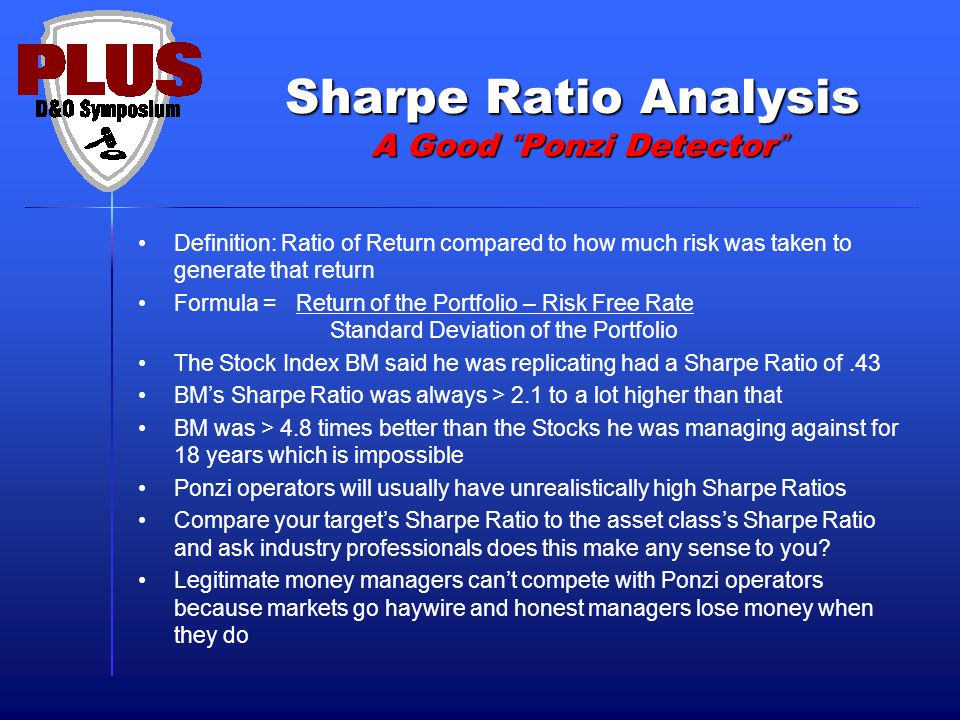 """Sharpe Ratio Analysis A Good """"Ponzi Detector"""" Definition: Ratio of Return compared to how much risk was taken to generate that return Formula = Return"""