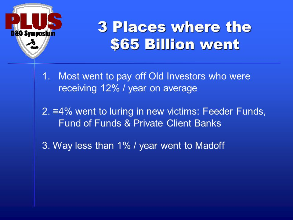 3 Places where the $65 Billion went 1.Most went to pay off Old Investors who were receiving 12% / year on average 2. ≅ 4% went to luring in new victim
