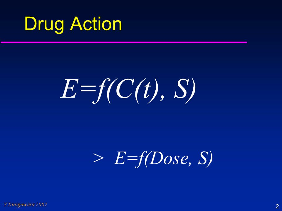 Response Concentration (Exposure) PD data Time Concentration Dose PK data Efficacy Toxicity Response Plasma Concen- tration Site of action Dose & Dosage Regimen Pharmacokinetics (PK) Pharmacodynamics (PD) ©Y.Tanigawara