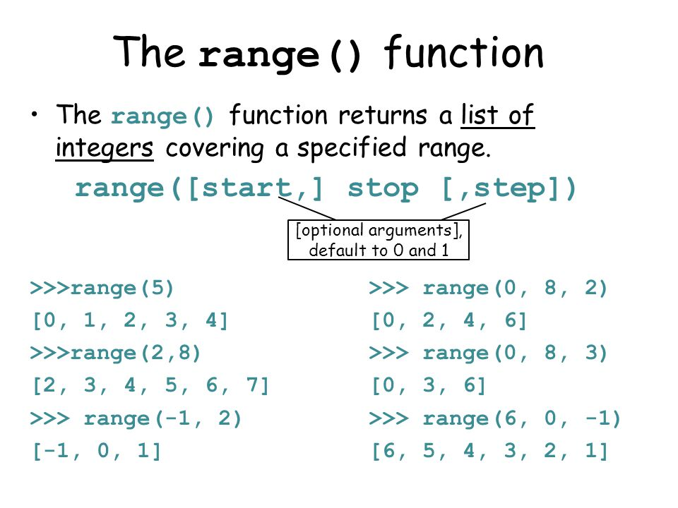 The range() function The range() function returns a list of integers covering a specified range.