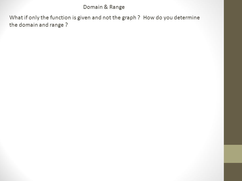 What if only the function is given and not the graph How do you determine the domain and range