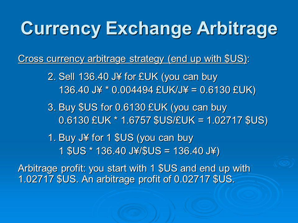 Currency Exchange Arbitrage Cross currency arbitrage strategy (end up with $US): 2.
