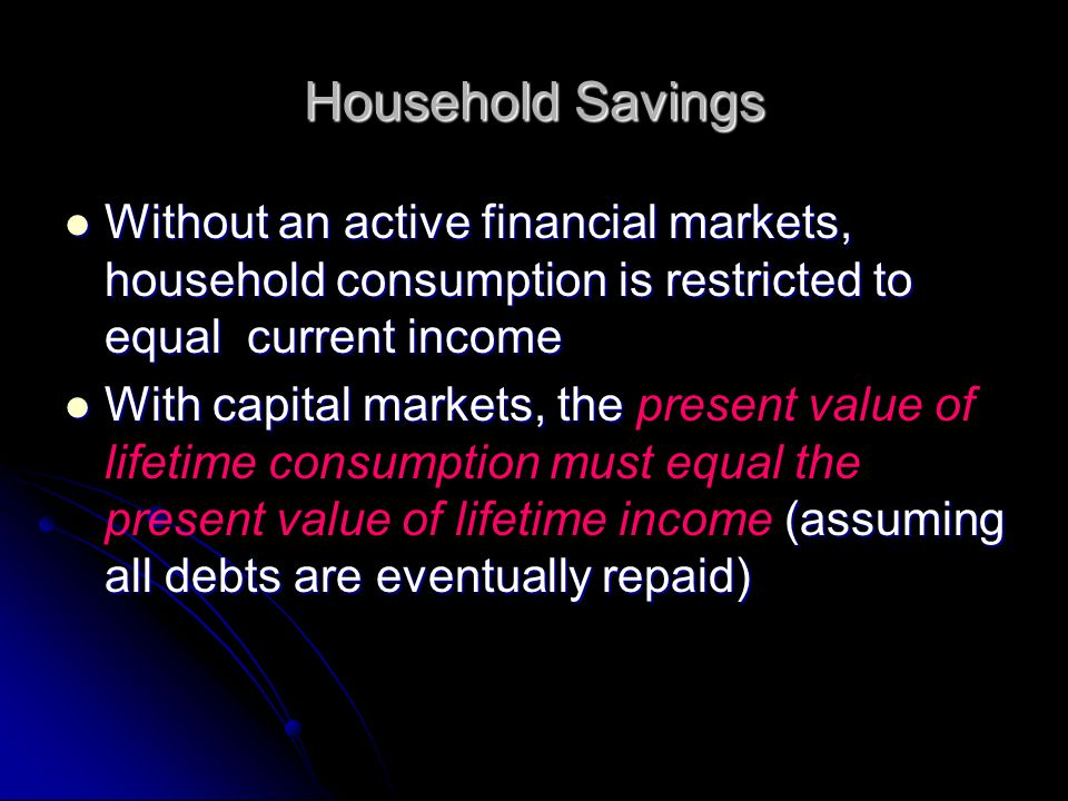 Household Savings Without an active financial markets, household consumption is restricted to equal current income Without an active financial markets