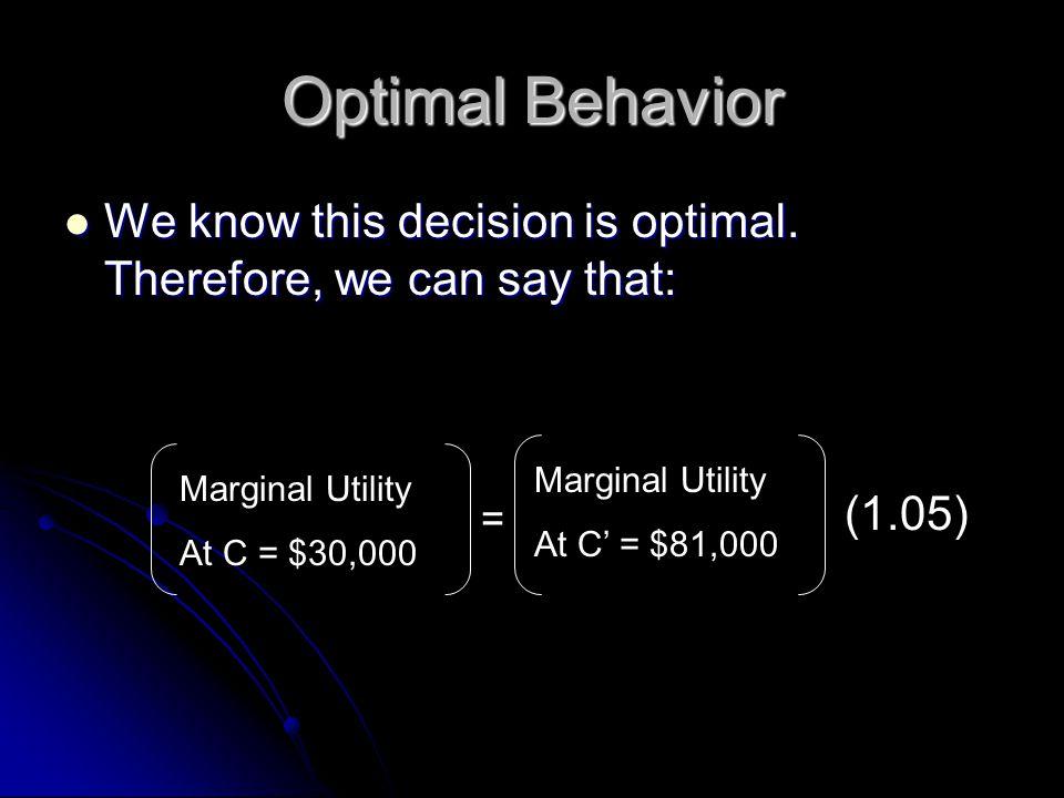 Optimal Behavior Marginal Utility At C = $30,000 = Marginal Utility At C' = $81,000 (1.05) We know this decision is optimal.