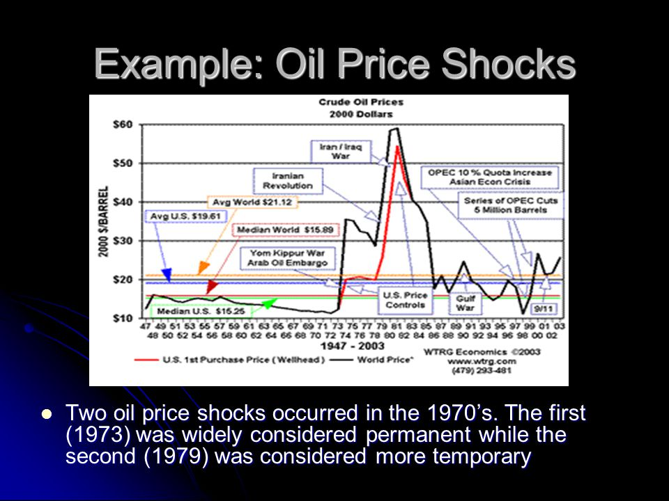 Example: Oil Price Shocks Two oil price shocks occurred in the 1970's. The first (1973) was widely considered permanent while the second (1979) was co