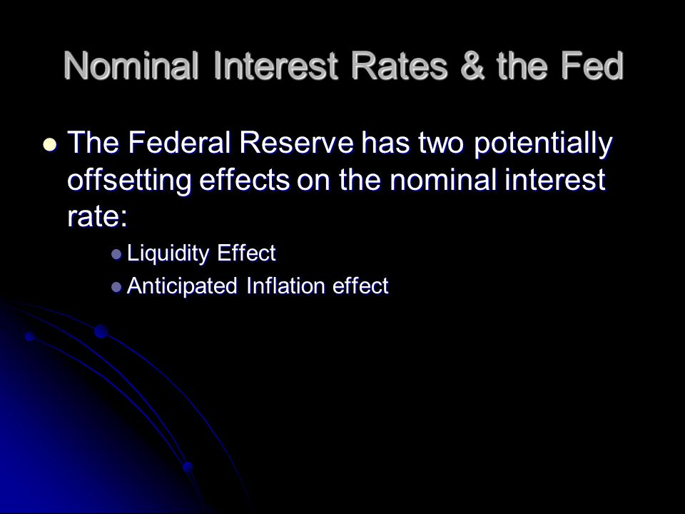 Nominal Interest Rates & the Fed The Federal Reserve has two potentially offsetting effects on the nominal interest rate: The Federal Reserve has two