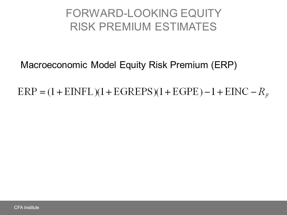 FORWARD-LOOKING EQUITY RISK PREMIUM ESTIMATES Macroeconomic Model Equity Risk Premium (ERP)