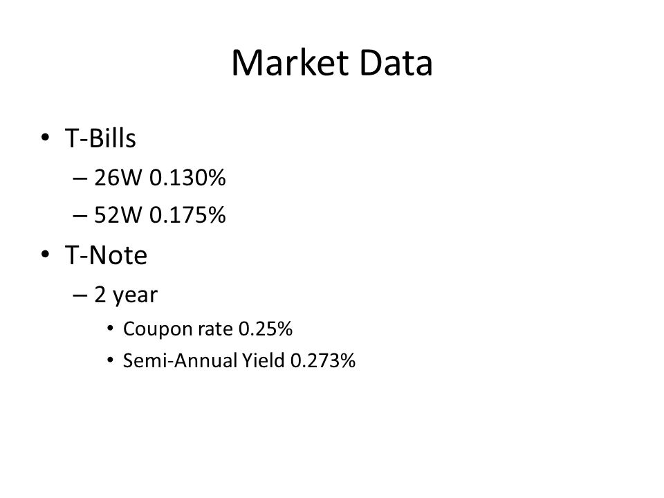 Market Data T-Bills – 26W 0.130% – 52W 0.175% T-Note – 2 year Coupon rate 0.25% Semi-Annual Yield 0.273%