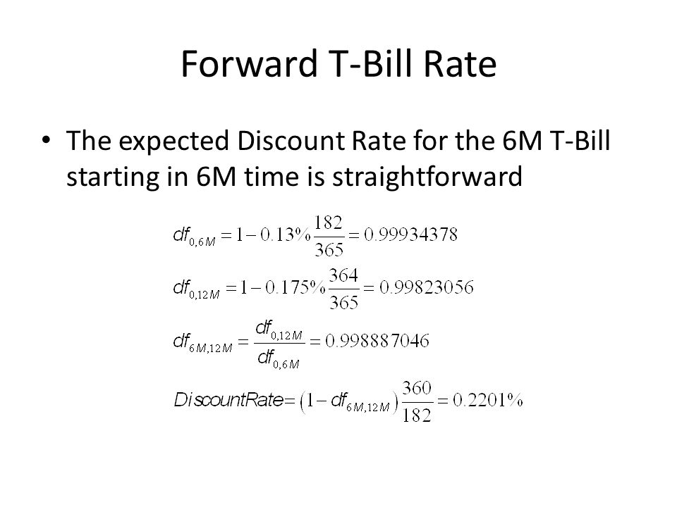 Forward T-Bill Rate The expected Discount Rate for the 6M T-Bill starting in 6M time is straightforward
