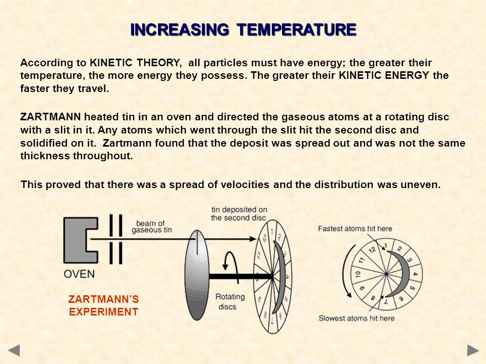 INCREASING TEMPERATURE According to KINETIC THEORY, all particles must have energy; the greater their temperature, the more energy they possess. The g