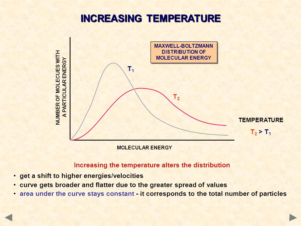 Increasing the temperature alters the distribution get a shift to higher energies/velocities curve gets broader and flatter due to the greater spread