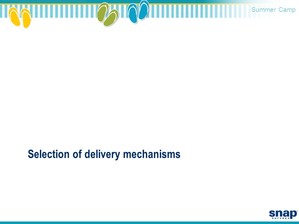 Summer Camp Selection of delivery mechanisms