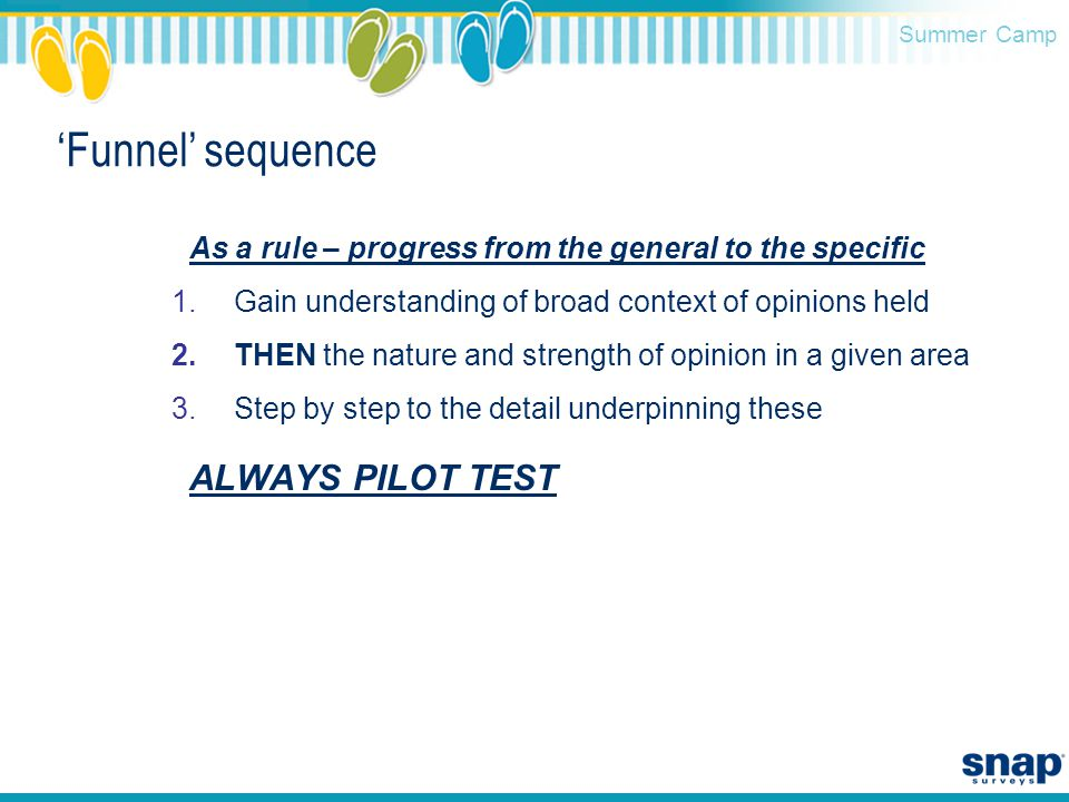 Summer Camp 'Funnel' sequence As a rule – progress from the general to the specific 1.Gain understanding of broad context of opinions held 2.THEN the nature and strength of opinion in a given area 3.Step by step to the detail underpinning these ALWAYS PILOT TEST