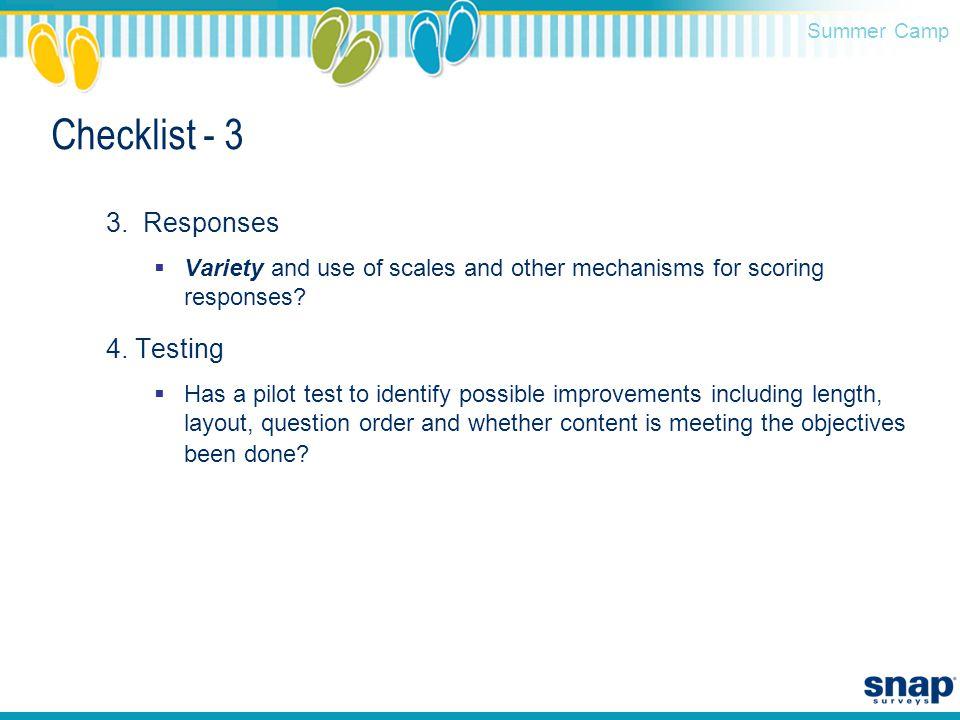 Summer Camp Checklist - 3 3.