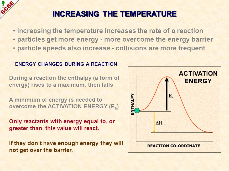 INCREASING THE TEMPERATURE ENERGY CHANGES DURING A REACTION During a reaction the enthalpy (a form of energy) rises to a maximum, then falls A minimum of energy is needed to overcome the ACTIVATION ENERGY (E a ) Only reactants with energy equal to, or greater than, this value will react.
