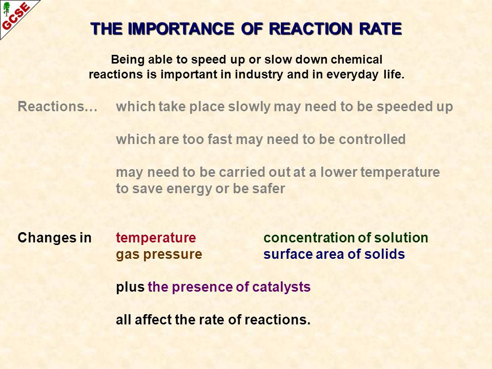 THE IMPORTANCE OF REACTION RATE Being able to speed up or slow down chemical reactions is important in industry and in everyday life.