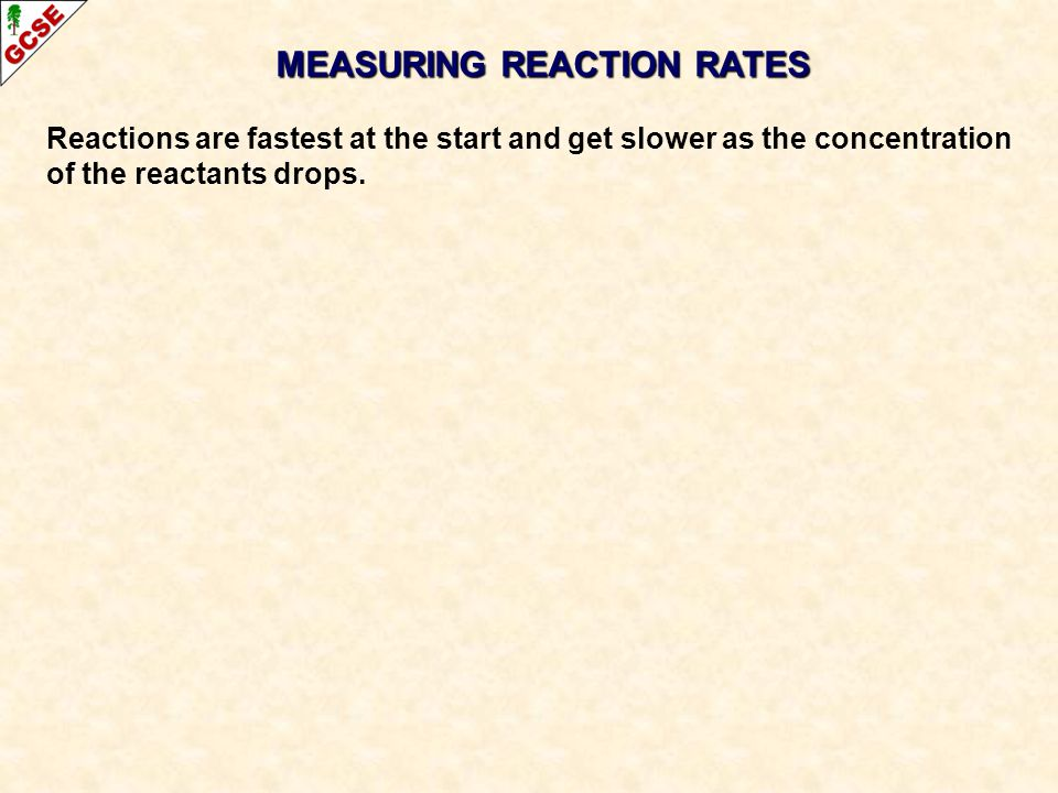 Reactions are fastest at the start and get slower as the concentration of the reactants drops.