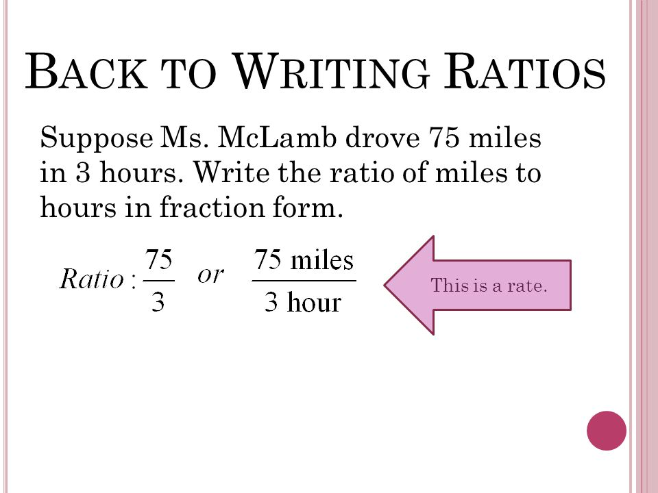 B ACK TO W RITING R ATIOS Suppose Ms. McLamb drove 75 miles in 3 hours. Write the ratio of miles to hours in fraction form. This is a rate.