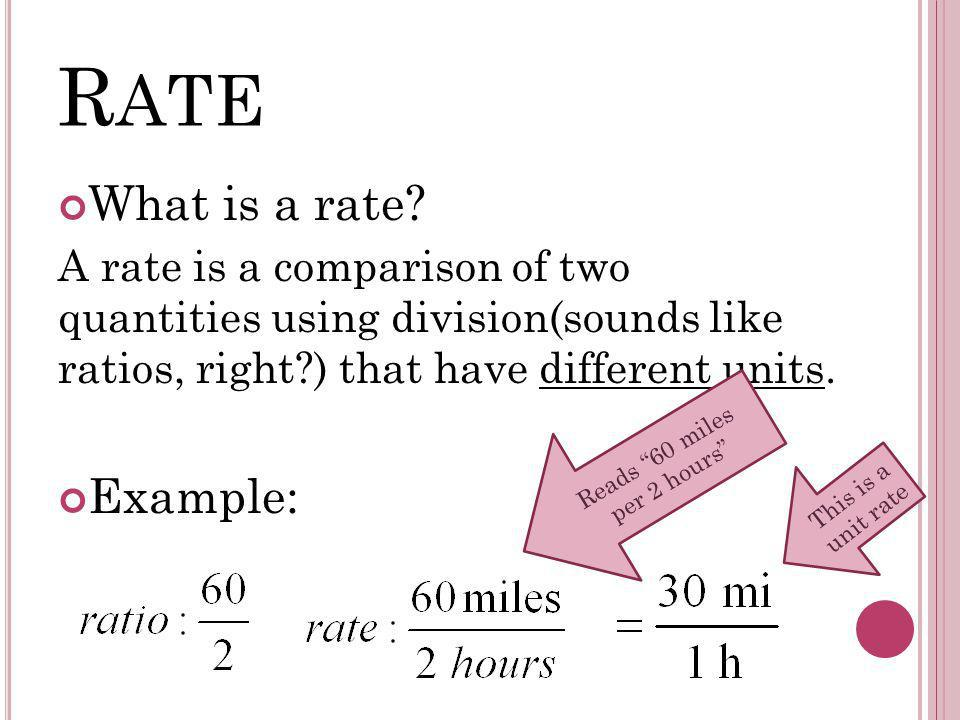 R ATE What is a rate.