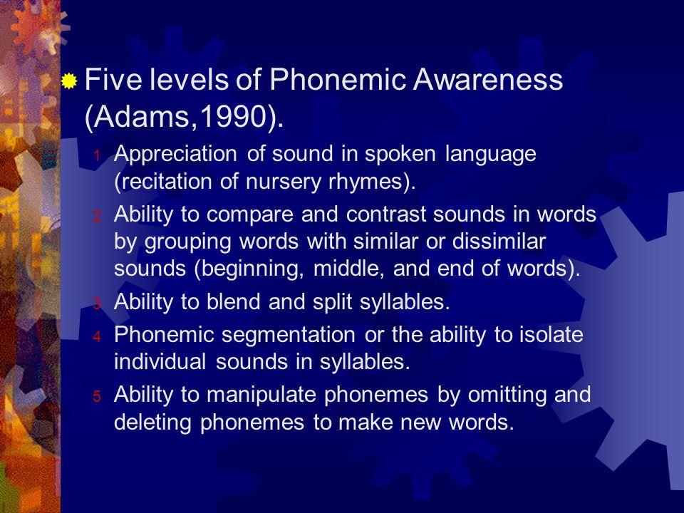 Five levels of Phonemic Awareness (Adams,1990).