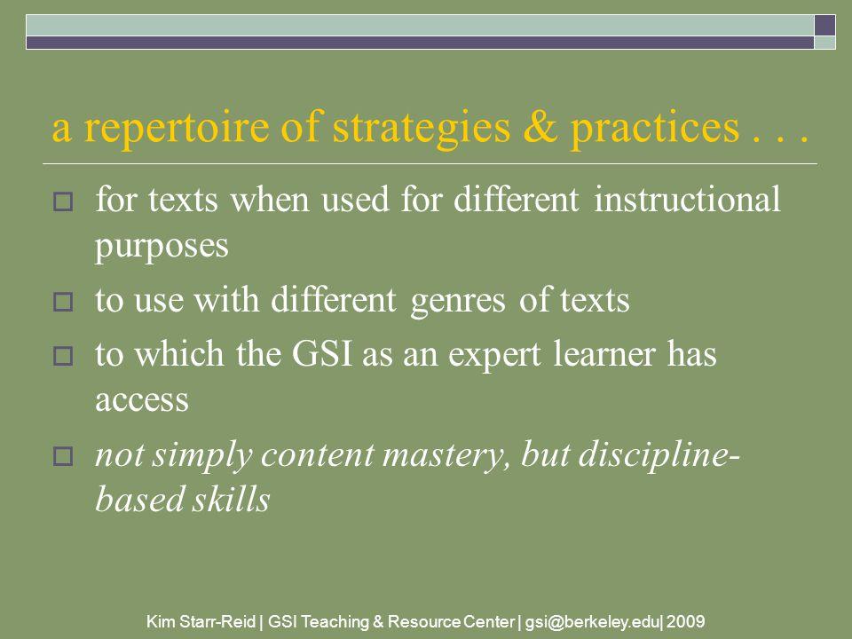 Kim Starr-Reid | GSI Teaching & Resource Center | gsi@berkeley.edu| 2009 guide the students' journey...