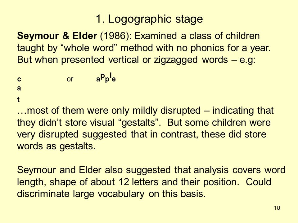 "10 1. Logographic stage Seymour & Elder (1986): Examined a class of children taught by ""whole word"" method with no phonics for a year. But when presen"
