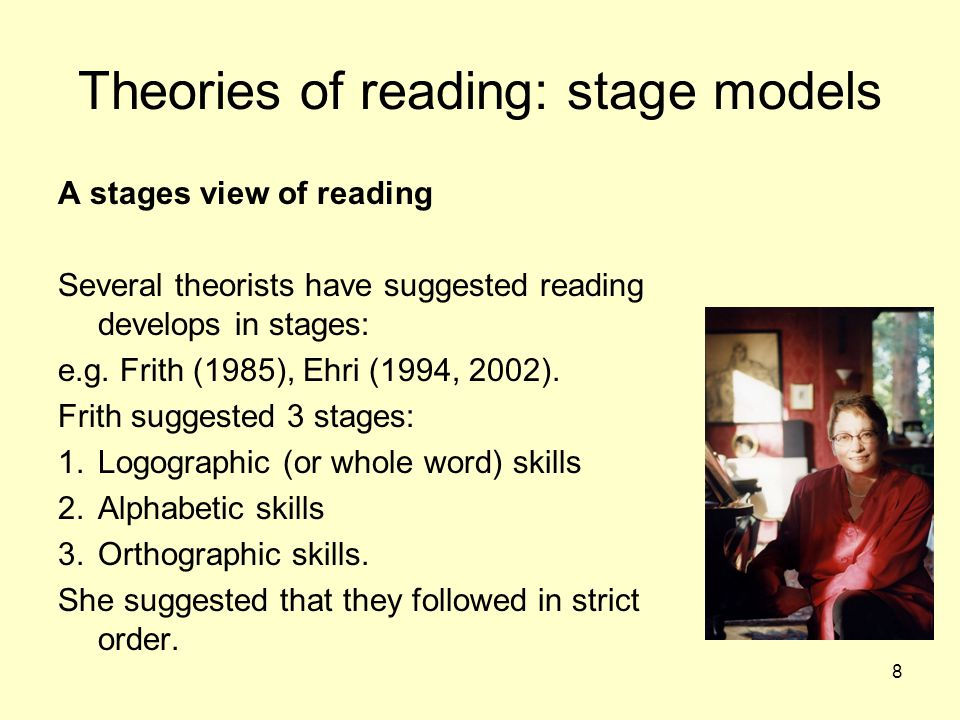8 Theories of reading: stage models A stages view of reading Several theorists have suggested reading develops in stages: e.g. Frith (1985), Ehri (199