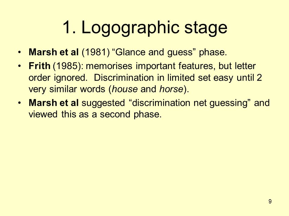 "9 1. Logographic stage Marsh et al (1981) ""Glance and guess"" phase. Frith (1985): memorises important features, but letter order ignored. Discriminati"