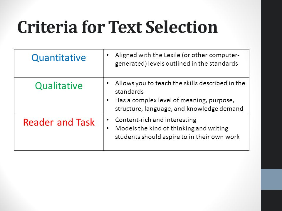 Criteria for Text Selection Quantitative Aligned with the Lexile (or other computer- generated) levels outlined in the standards Qualitative Allows you to teach the skills described in the standards Has a complex level of meaning, purpose, structure, language, and knowledge demand Reader and Task Content-rich and interesting Models the kind of thinking and writing students should aspire to in their own work