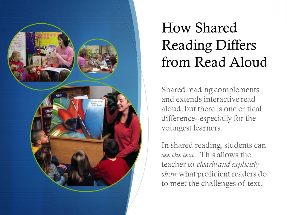 How Shared Reading Differs from Read Aloud Shared reading complements and extends interactive read aloud, but there is one critical difference--especi