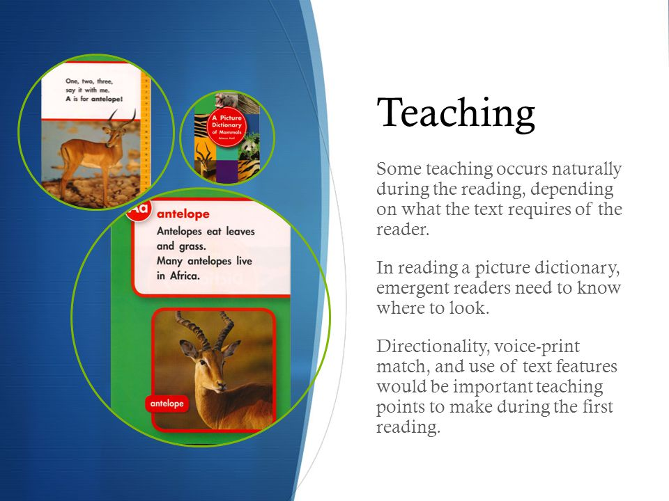Teaching Some teaching occurs naturally during the reading, depending on what the text requires of the reader. In reading a picture dictionary, emerge