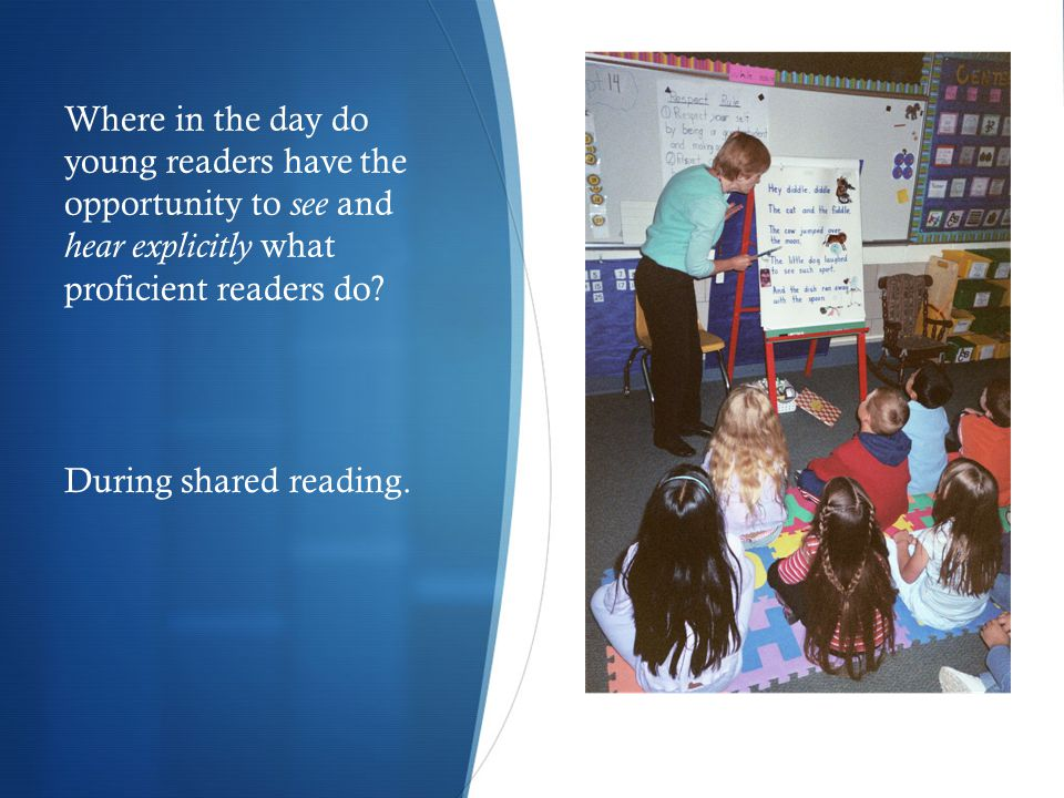 A Framework for Shared Reading as a Element of a Balanced Literacy Program These components of a whole group shared reading lesson contribute to a delightful dance between demonstration and participation.