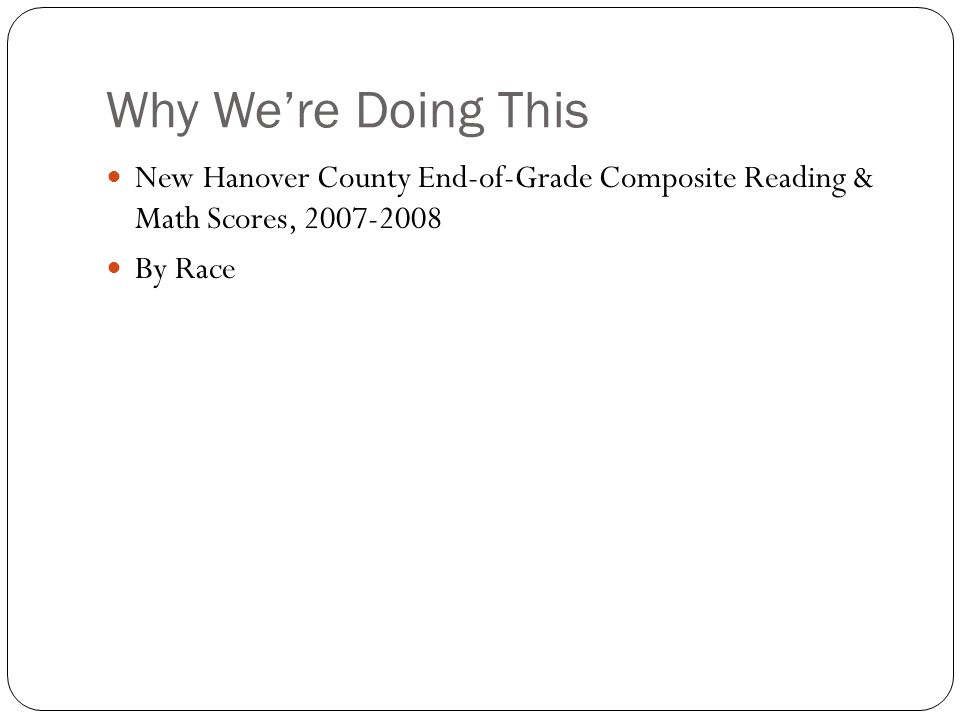 Why We're Doing This New Hanover County End-of-Grade Composite Reading & Math Scores, 2007-2008 By Race