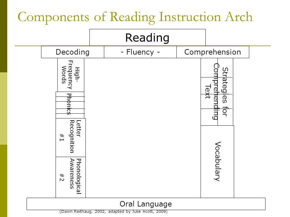 Components of Reading Instruction Arch Oral Language PhonologicalAwareness #2 LetterRecognition #1 Vocabulary Phonics Decoding Strategies for Comprehe