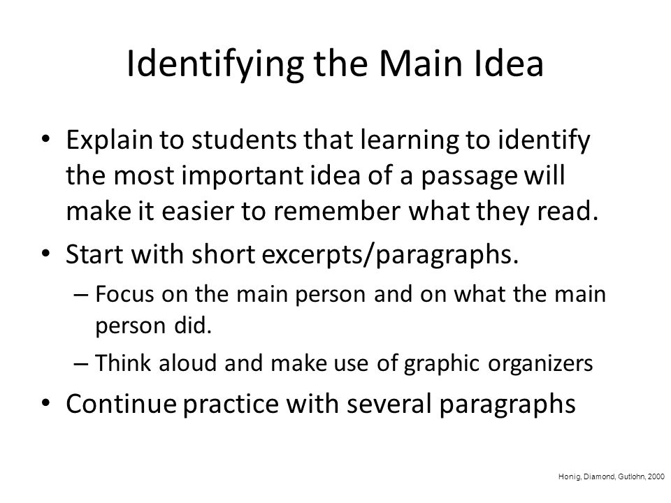 Comprehension Activate or build background knowledge Monitor comprehension throughout After reading – Summarize – Identify main idea/supporting detail