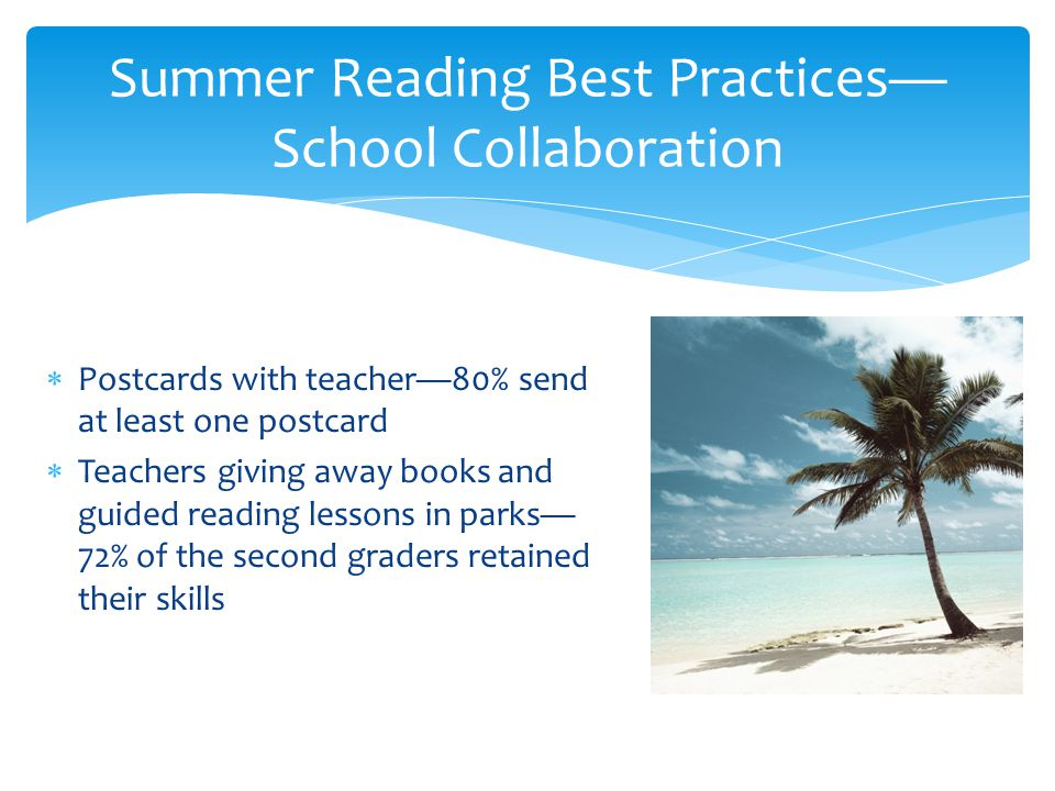  Postcards with teacher—80% send at least one postcard  Teachers giving away books and guided reading lessons in parks— 72% of the second graders retained their skills Summer Reading Best Practices— School Collaboration