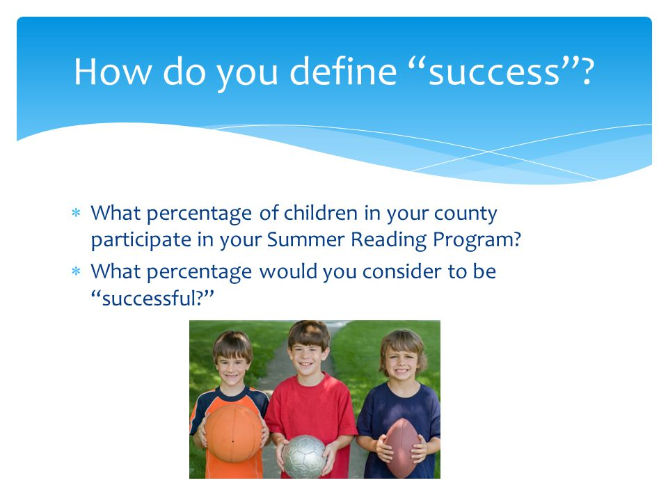  What percentage of children in your county participate in your Summer Reading Program.