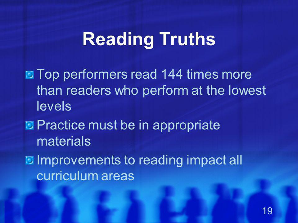 19 Reading Truths Top performers read 144 times more than readers who perform at the lowest levels Practice must be in appropriate materials Improveme