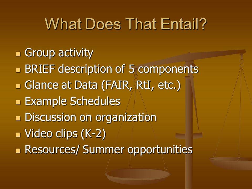 What Does That Entail? Group activity Group activity BRIEF description of 5 components BRIEF description of 5 components Glance at Data (FAIR, RtI, et