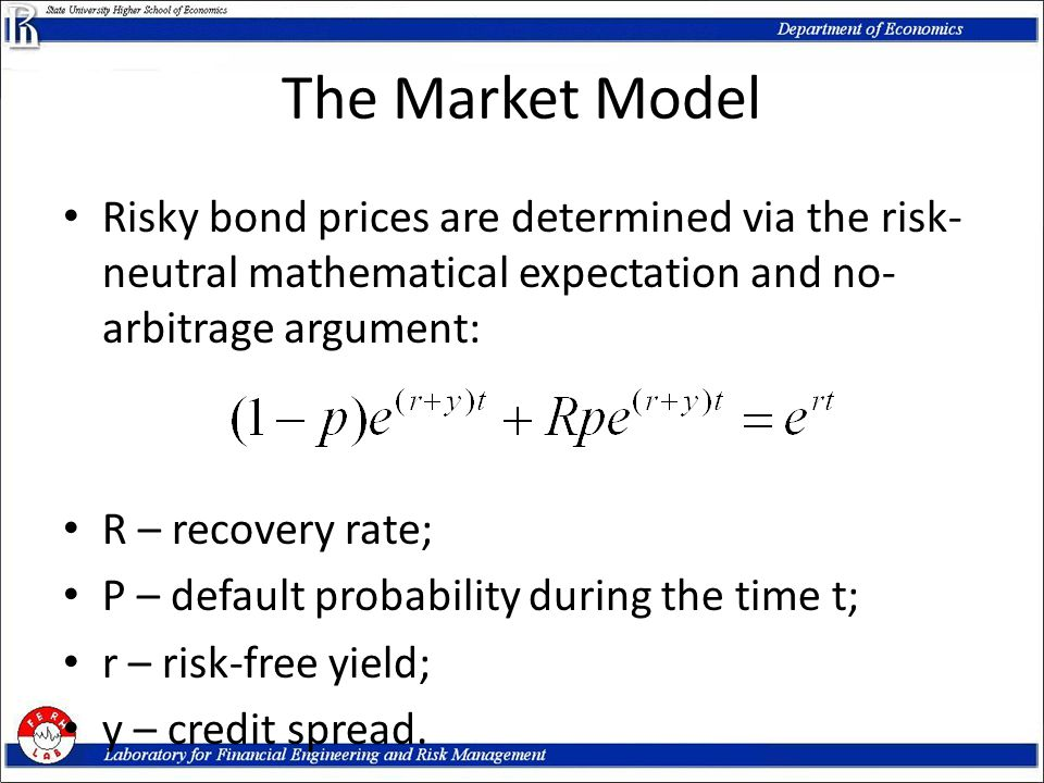 The Market Model Risky bond prices are determined via the risk- neutral mathematical expectation and no- arbitrage argument: R – recovery rate; P – de