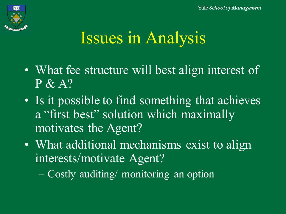 Yale School of Management Issues in Analysis What fee structure will best align interest of P & A.